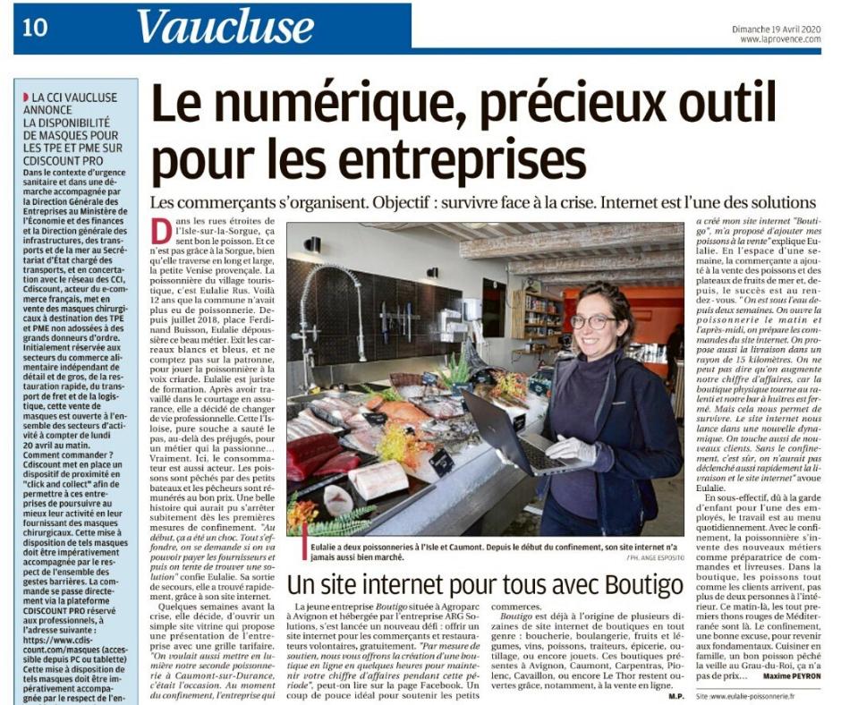 Article dans la Provence sur Eulalie et Boutigo