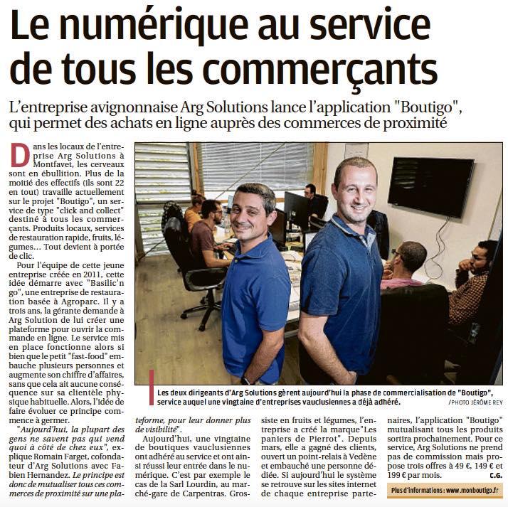 La création de notre concept Boutigo. Le Journal La Provence dédie un article sur le concept Boutigo et l'historique de création de notre solution