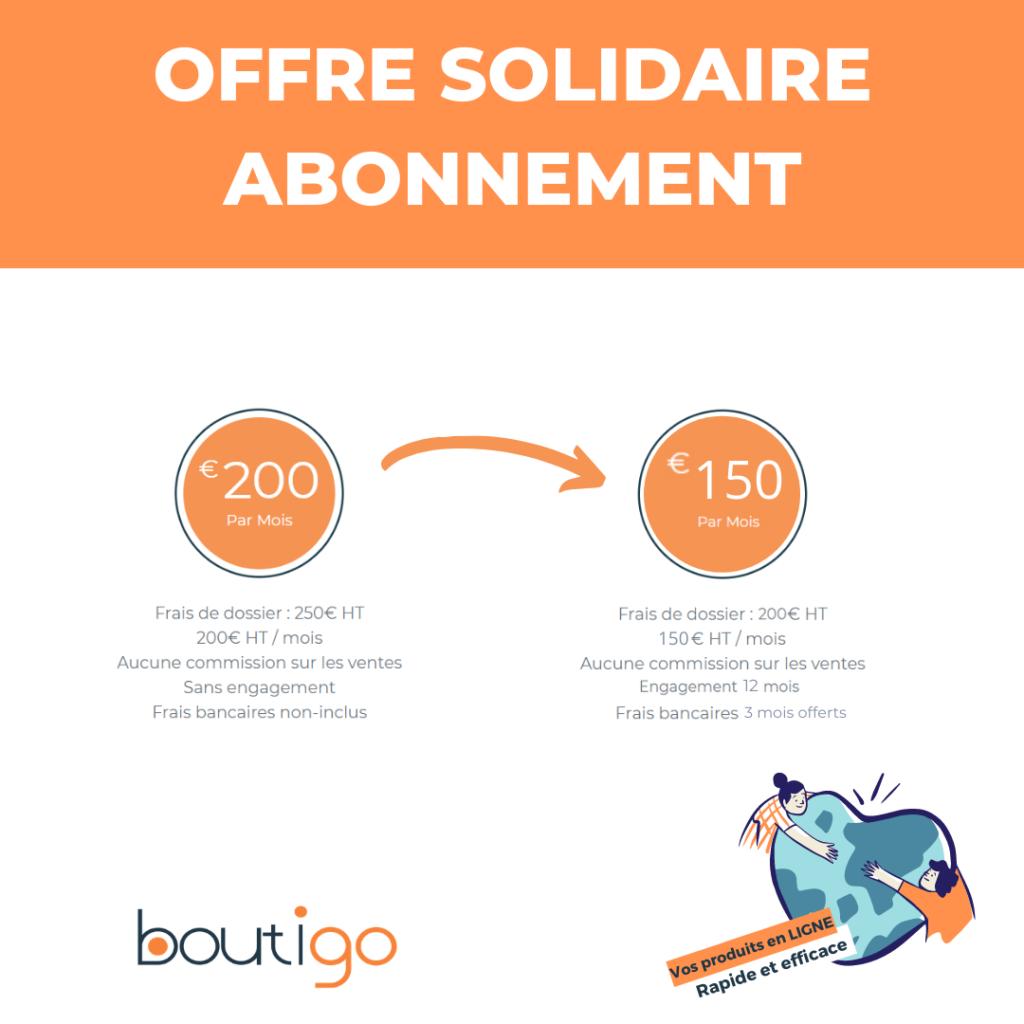 notre offre solidaire Boutigo. Commerçants, nous restons solidaires.