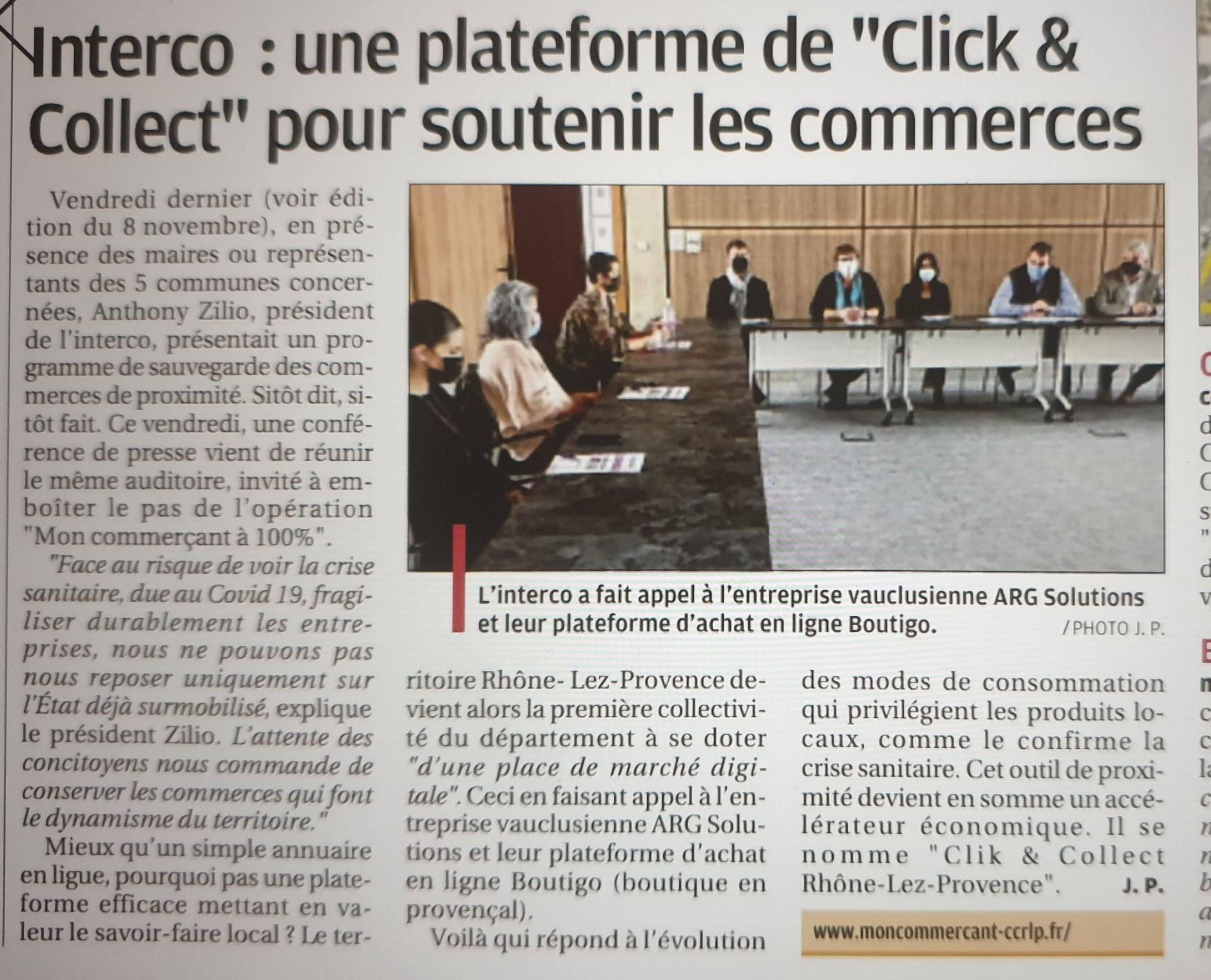 Article la Provence relatant le lancement de la marketplace de la Communauté de Communes Rhône Lez Provence.