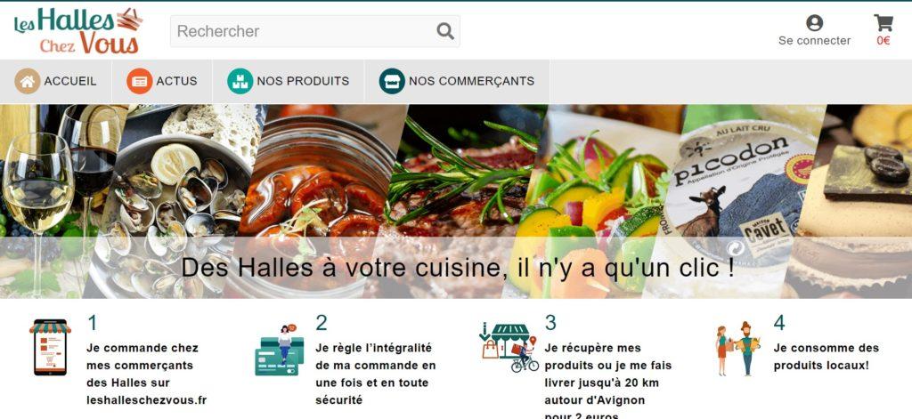 Cette photo montre une capture d'écran de la page d'accueil du site Les Halles Chez Vous.